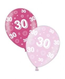 "10 30th Birthday Fab Fuchsia 11"" Helium Filled Balloons"