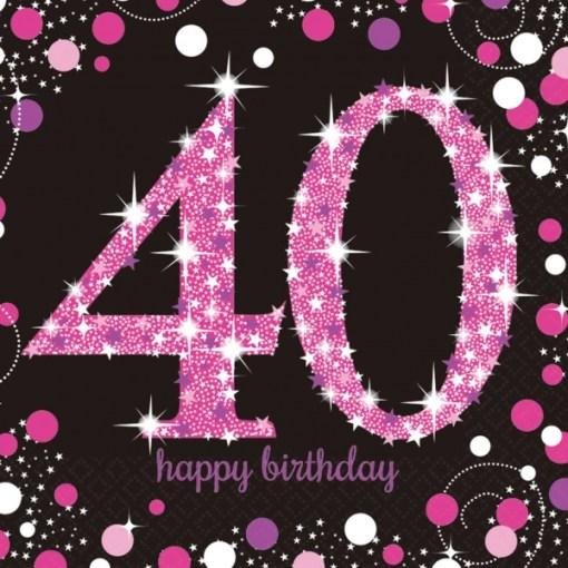 pink celebration happy 40th birthday luncheon napkins 16 london