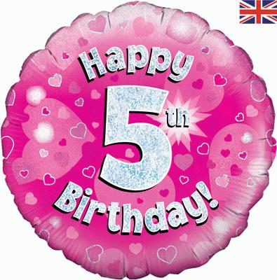 Oaktree Pink 5th Birthday Helium Balloon At London Balloons