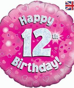 Oaktree Pink 12th Birthday Helium Balloon at London Helium Balloons