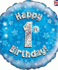 Oaktree Blue 1st Birthday Helium Balloon at London Helium Balloons