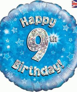 Oaktree Blue 9th Birthday Helium Balloon at London Helium Balloons