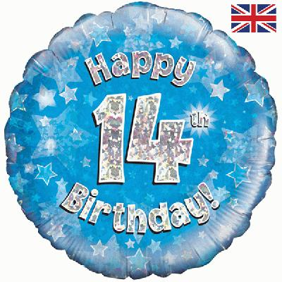 Oaktree Blue 14th Birthday Helium Balloon At London Balloons