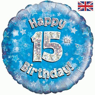 Oaktree Blue 15th Birthday Helium Balloon At London Balloons