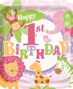 1st Birthday Pink Safari Pack of 8 Plates at London Helium Balloons