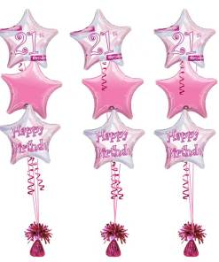 21st Birthday Pink Shimmer Bouquet balloons at London Helium Balloons