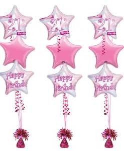 21st Birthday Pink Shimmer Bouquet Balloons At London Helium