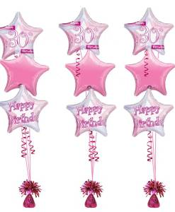 30th Birthday Pink Shimmer Bouquet at London Helium Balloons