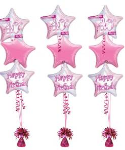 40th Birthday Pink Shimmer Bouquet at London Helium Balloons