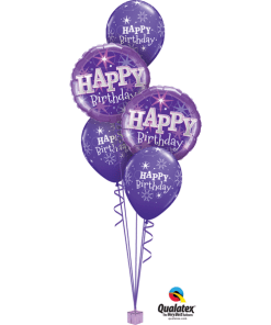 Birthday Purple sparkle Bouquet at London Helium Balloons