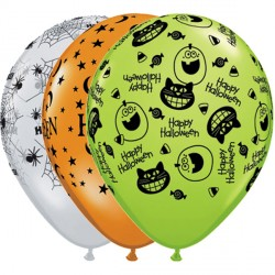 10 halloween assortment 11 mandarin/diamond clear/lime Helium Filled Latex Balloons