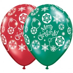 "Christmas snowflakes 11 emerald and ruby red 11"" Helium Filled latex balloons"