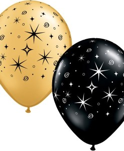 "10 Sparkles & Swirls Gold & Black 11"" Latex Balloons"