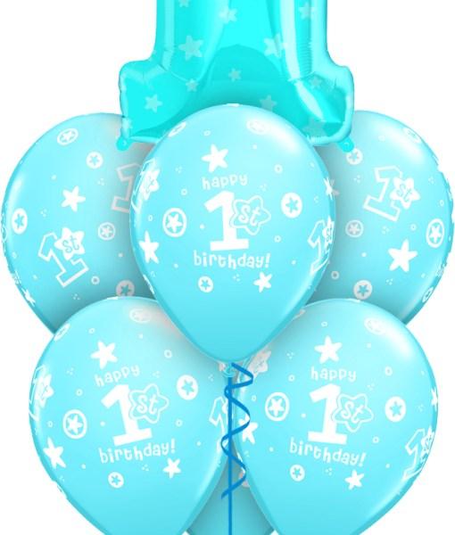 Blue 1st Birthday at London Helium Balloons