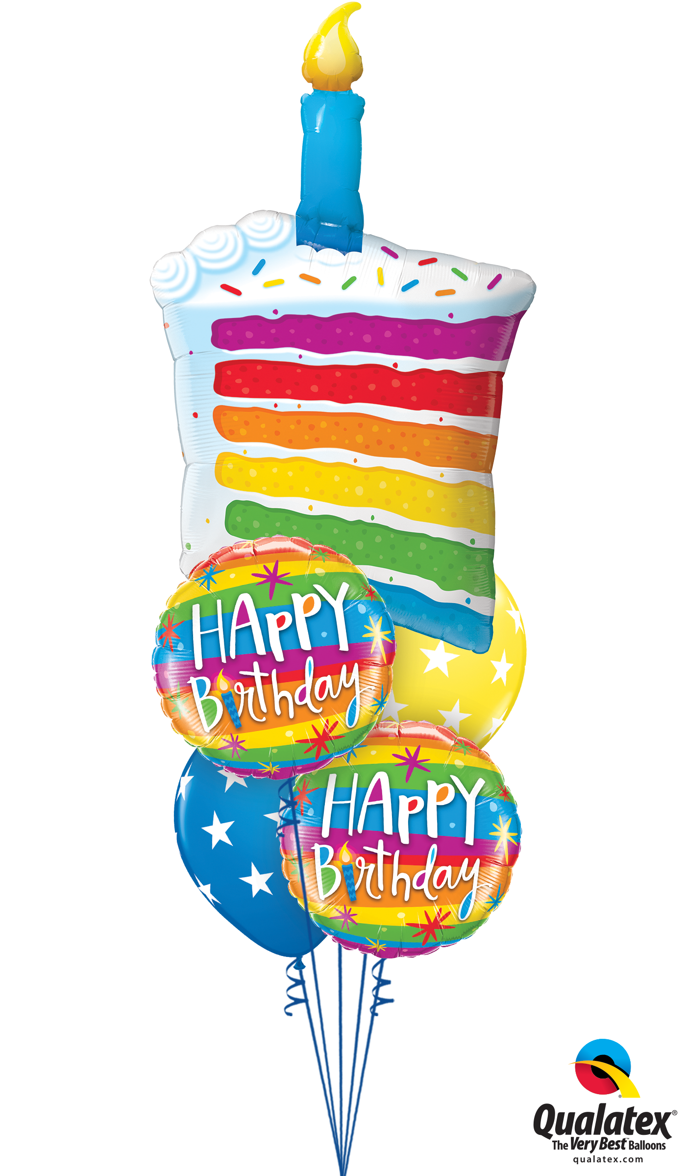 Get Rainbow Cake Candle Helium Balloons Delivered To Your Choice Of Venue