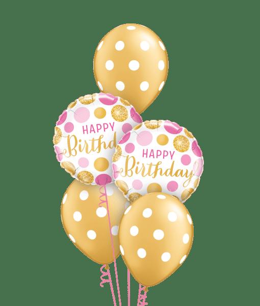 Gold & Pink Polka Dots at London Helium Balloons