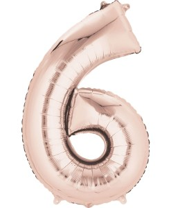"Rose Gold Number 6 34"" Helium Filled foil balloon"