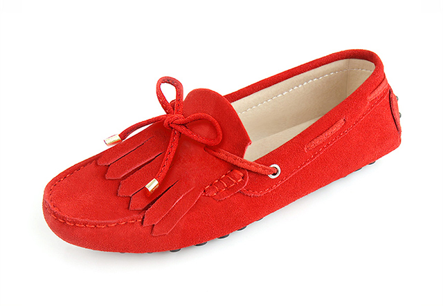 london loafers womens Brentwood Spitfire red suede pringed driving loafers 4