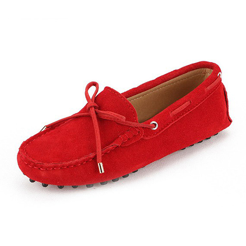 Womens laced kensington spitfire red suede driving loafer driving shoe