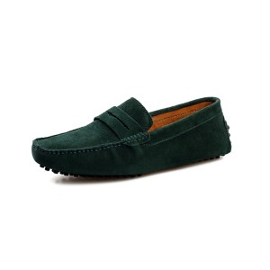 mens green penny loafers – suede soho penny loafers by london loafers