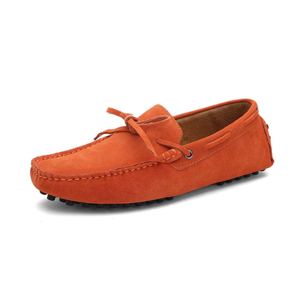 mens orange driving shoes loafers - chelsea london loafers