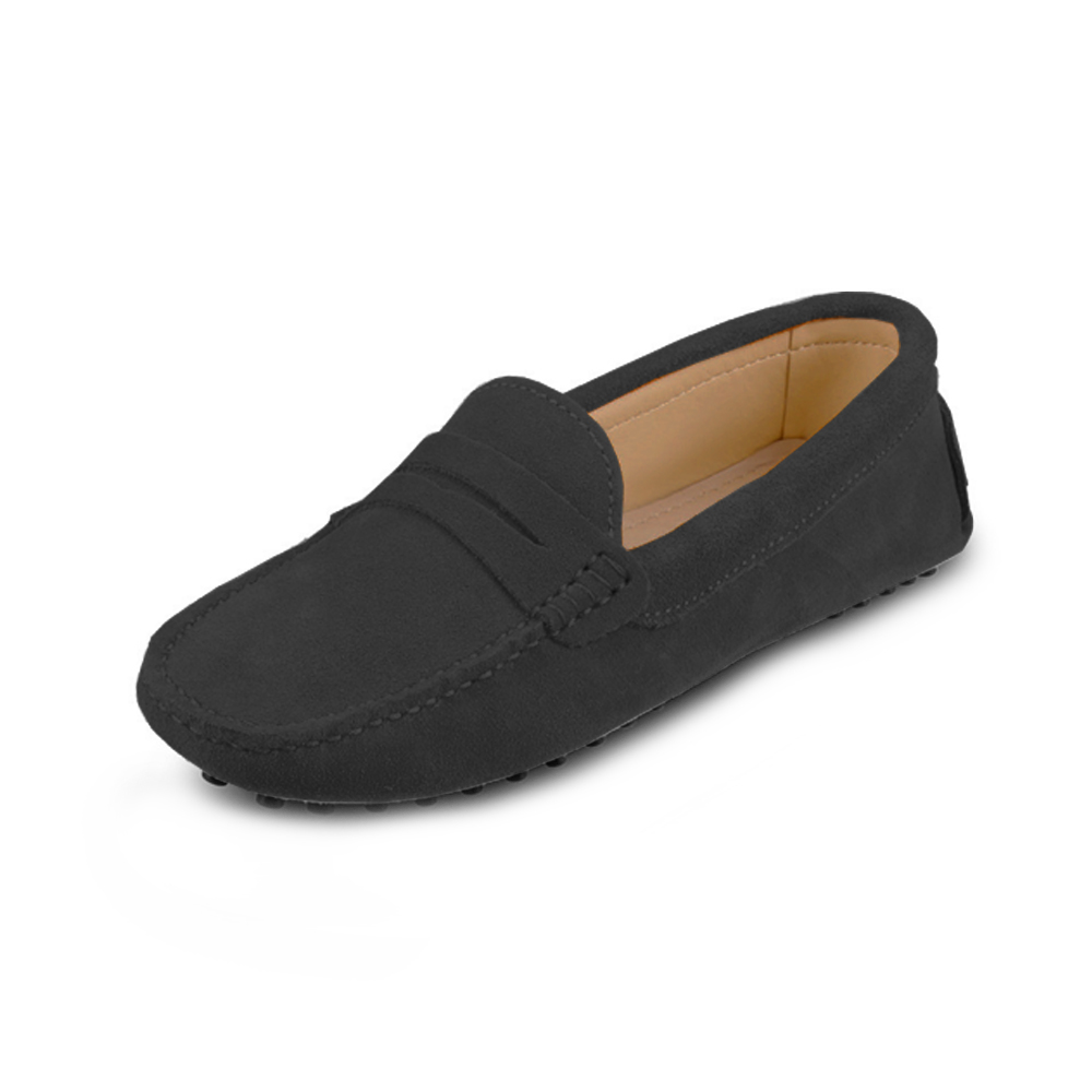 womens black suede penny loafer - soho shoe by london loafers