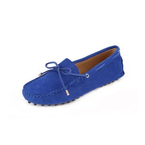 womens blue suede lace up driving shoes - kensington shoe by london loafers