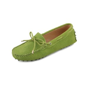 womens lime suede lace up driving shoes - kensington shoe by london loafers