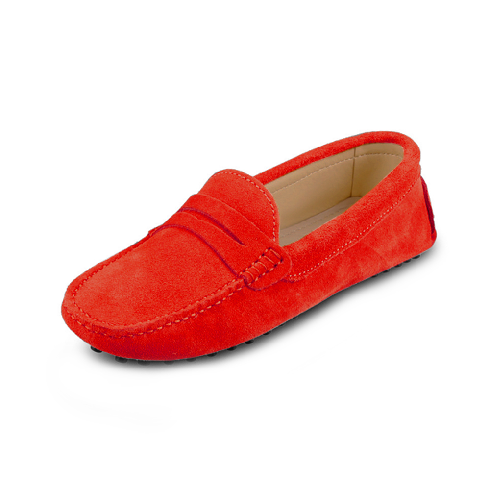 womens red suede penny loafer - soho shoe by london loafers 5