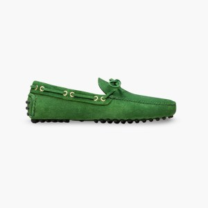 Mens Green Classic Driving Shoes - Mens Driving Loafers By London Loafers - Suede Loafers For Men3
