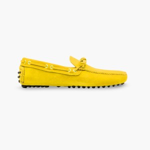 Mens Yellow Classic Driving Shoes - Mens Driving Loafers By London Loafers - Suede Loafers For Men3