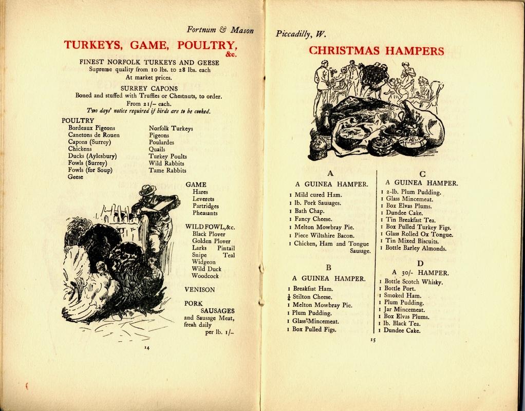 A vintage Fortnum & Mason brochure showcasing their Christams Hampers.