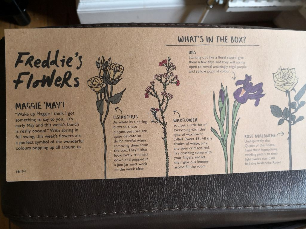 Freddie's Flowers instruction leaflet
