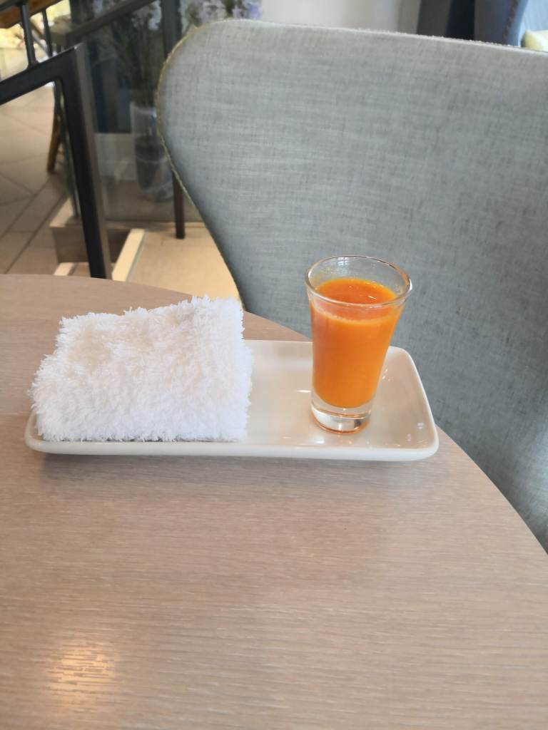 Dormy House spa, shot of fresh juice