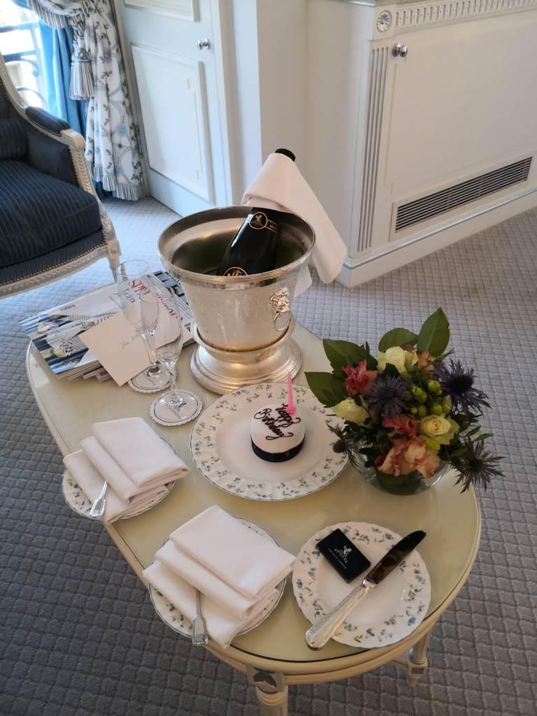 Birthday treats, champagne and cake