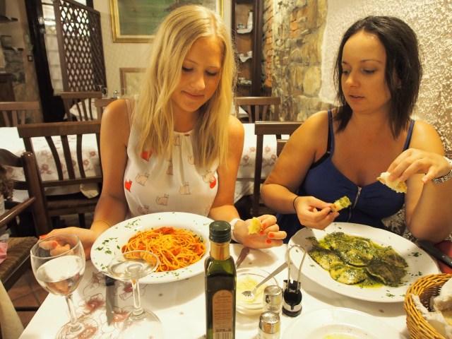 My favourite - spaghetti napolitana & Miss M with a delicious pesto ravioli