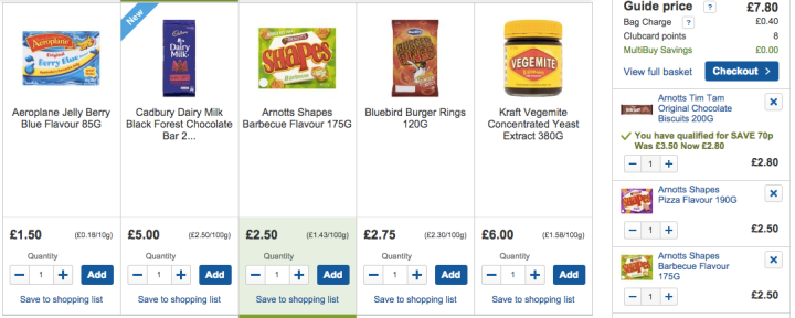 Screenshot from tesco.com