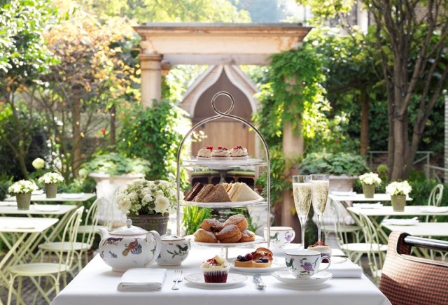 Afternoon tea in London garden Number Sixteen