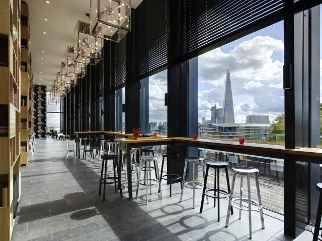 communal area overlook Thames at CitizenM hotel London