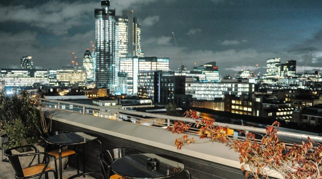 Rooftop bar view at Ace Hotel London