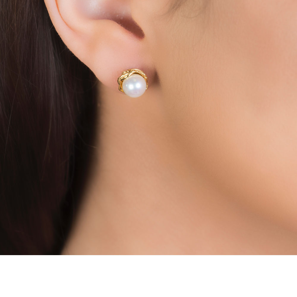 Elegant Willow Single Pearl Stud Earrings  London Road Jewellery