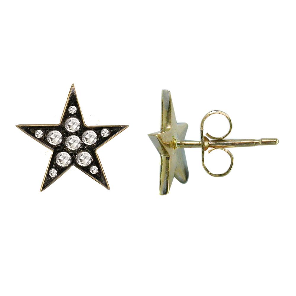 Gold Rose Cut Diamond Star Stud Earrings