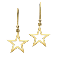 Modern Yellow Gold Starry Night Star Drop Earrings ...