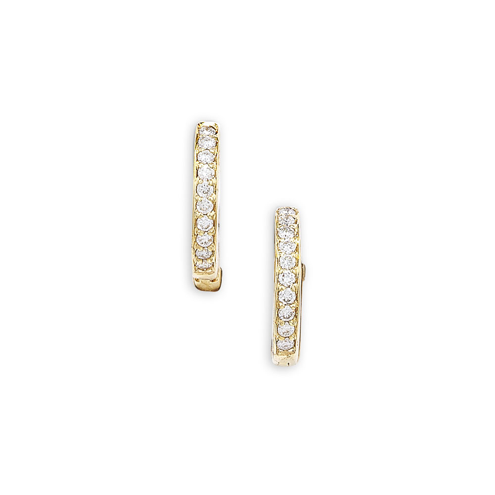 Designer Yellow Gold Diamond Hoop Earrings