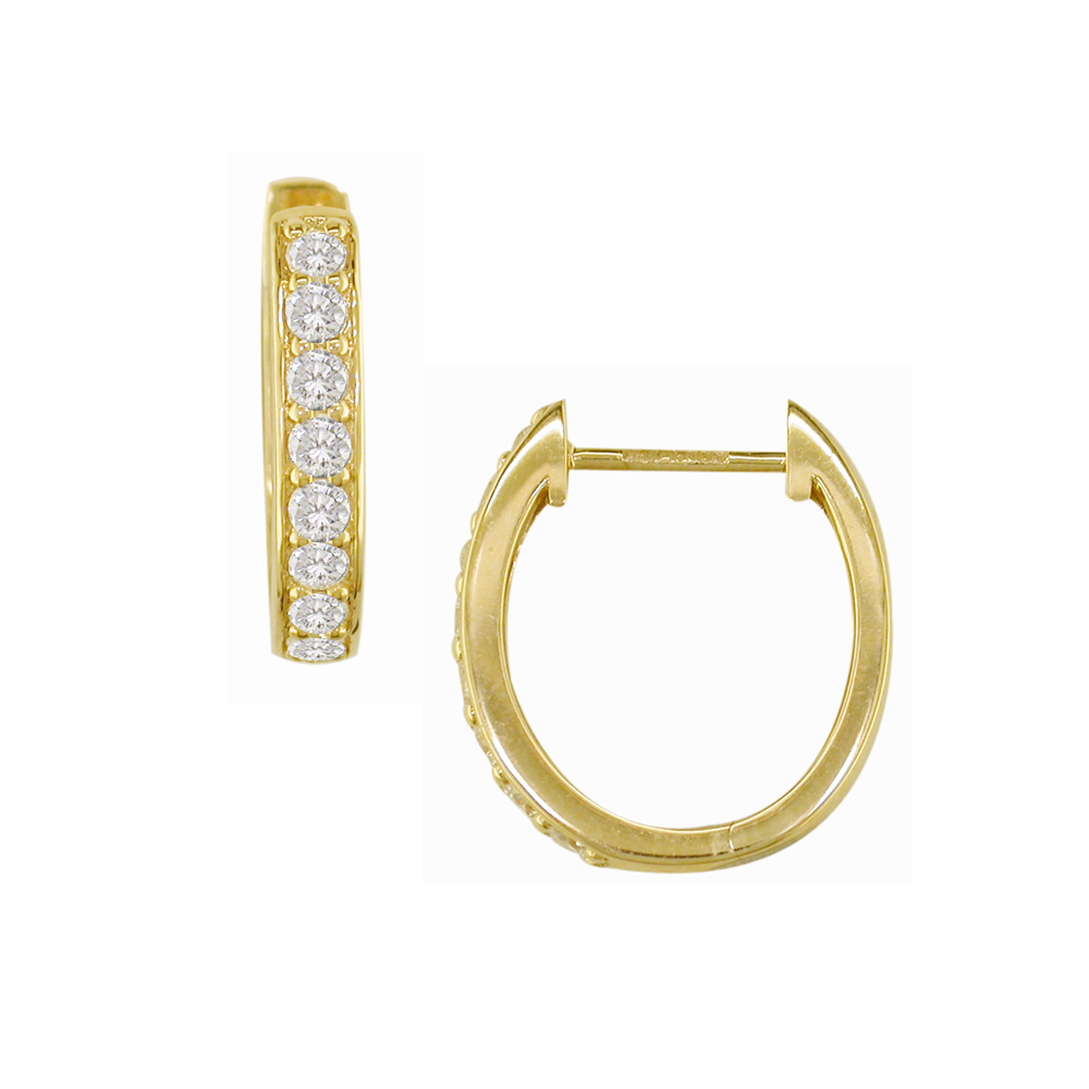 Yellow Gold Diamond Meridian Hoop Earrings