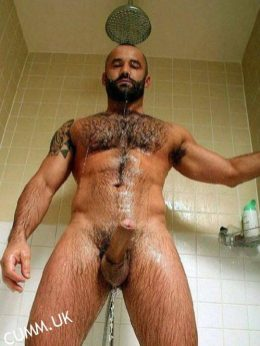 cumm uk sexy-bear-shower-washing-his-erect-penis