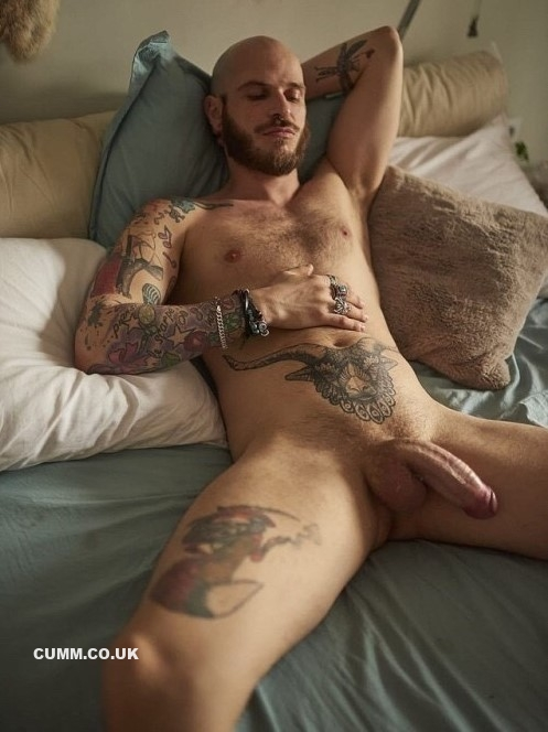 beard god inked man art inked nude man
