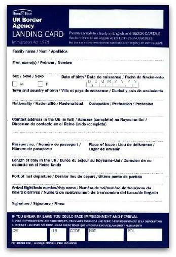 Documentos necessários para imigração no Reino Unido - landing card