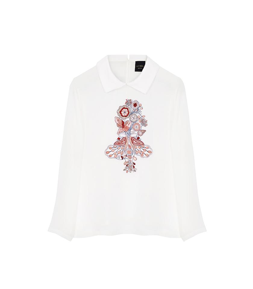 chemise blanche brodé fleurs vegan en viscose certifiée Forest