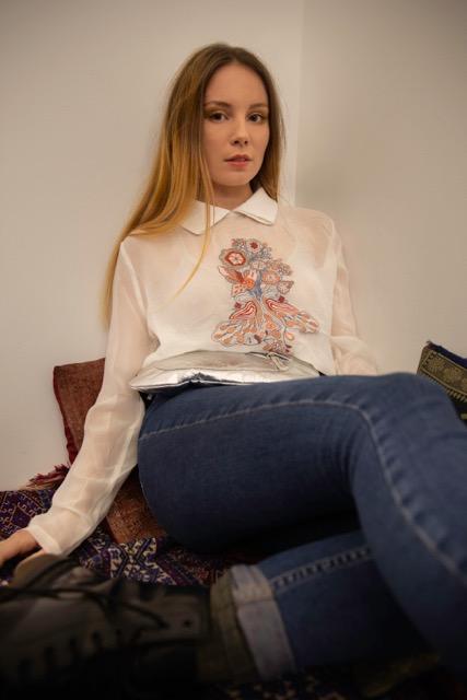Chemise Anna blanche broderie à la main viscose certifiée Forest